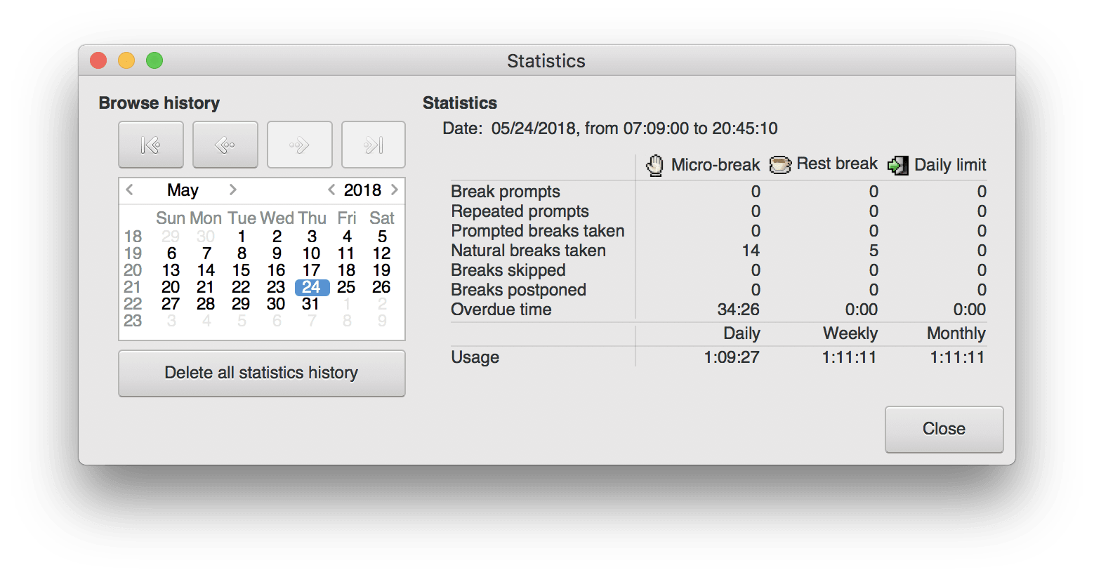 Workrave on Mac statistics window