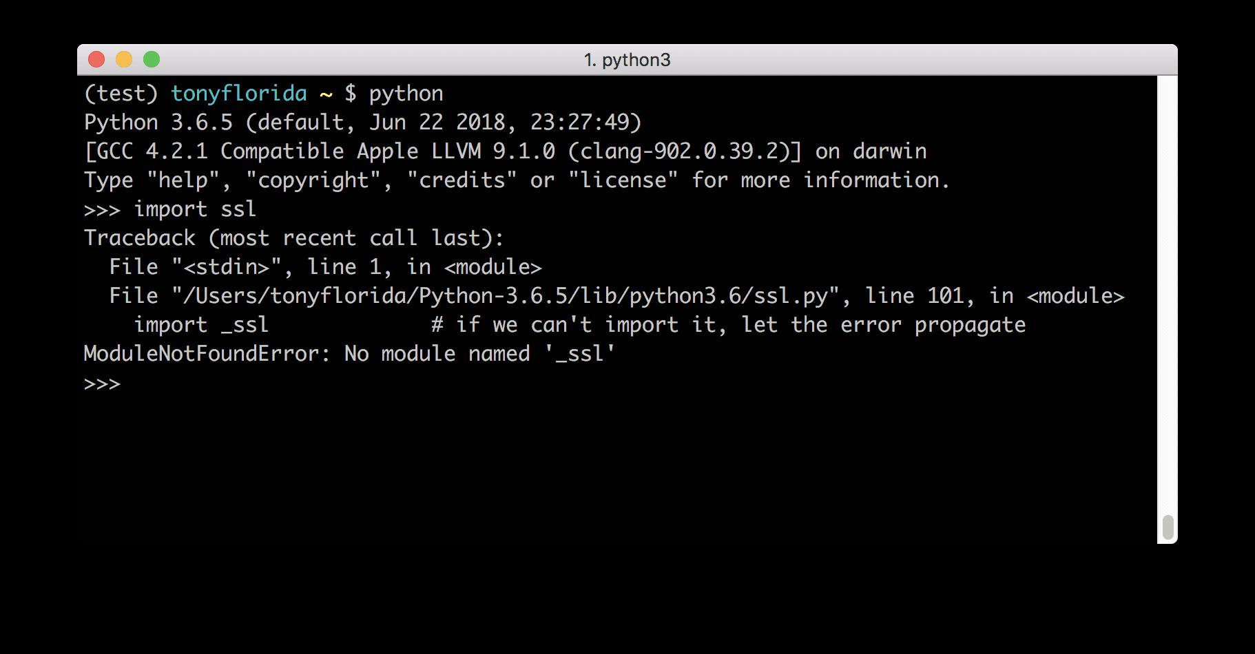 ModuleNotFoundError No module named '_ssl'