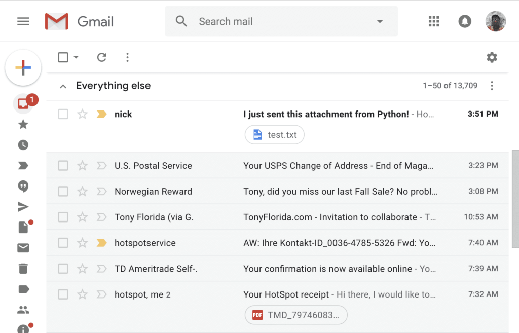 Email sent from Python with attachment in Gmail inbox