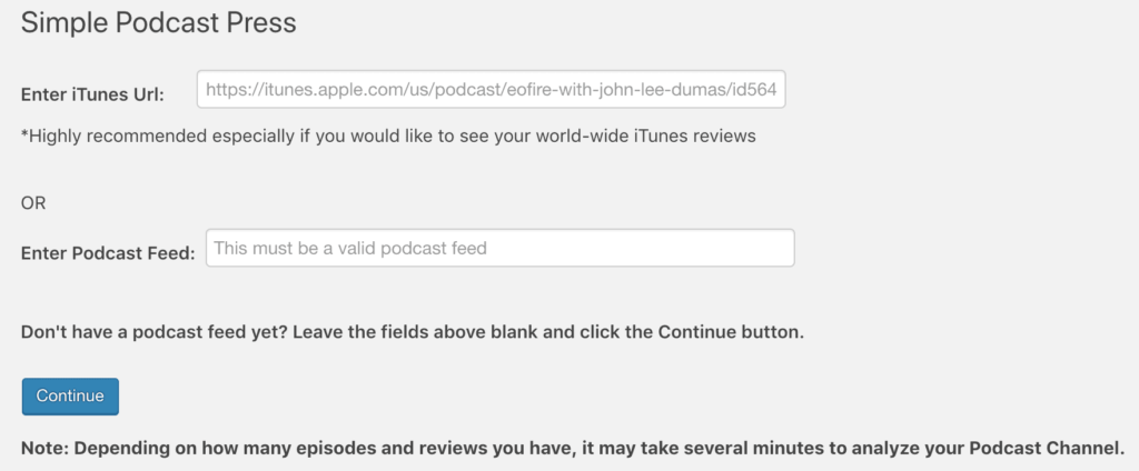 Connect podcast to Wordpress
