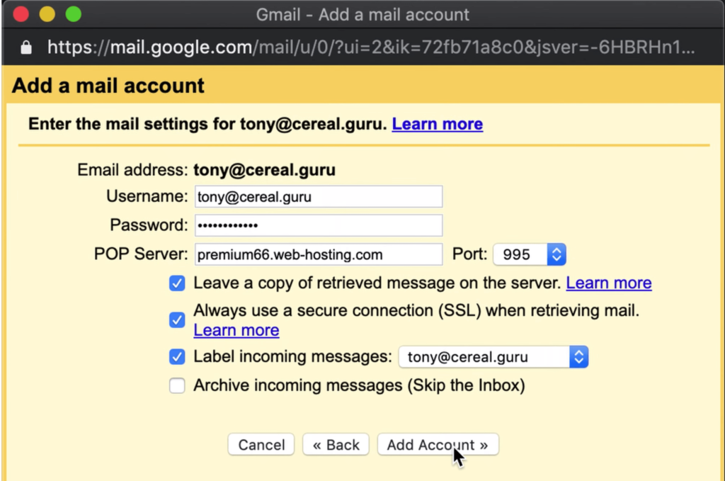 Custom email address in Gmail settings