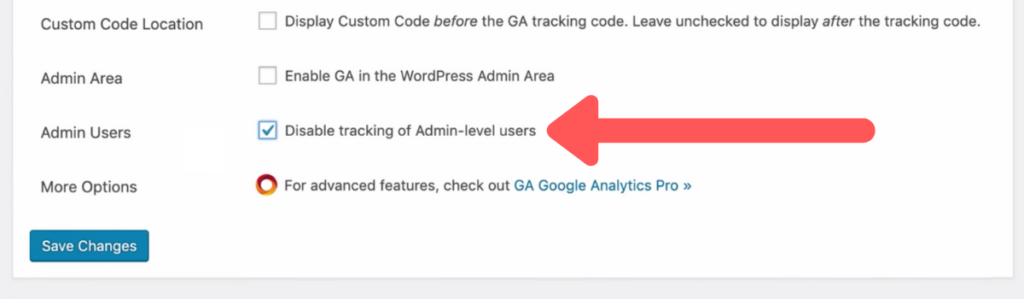 Disable tracking of admin-level users in Google Analytics