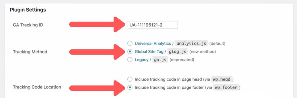 Google Analytics WordPress plugin settings