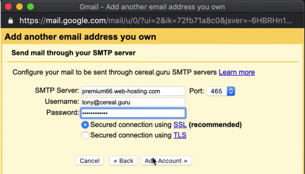 Send mail as settings in Gmail