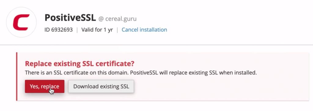 Replace default SSL certificate on NameCheap