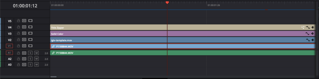 DaVinci Resolve timeline with multiple tracks