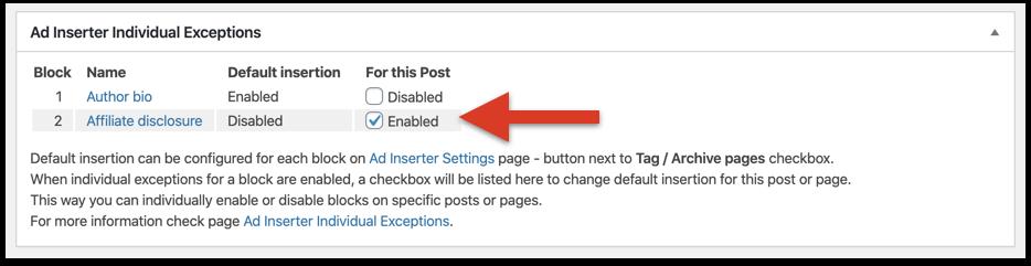 Enable affiliate disclosure statement check box