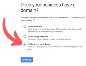 Free .page domain name with G Suite
