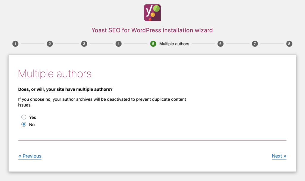 Yoast SEO configuration wizard multiple authors archives