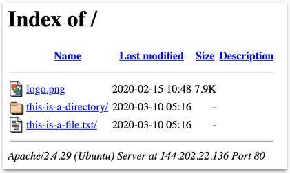 Directory listing in Apache page