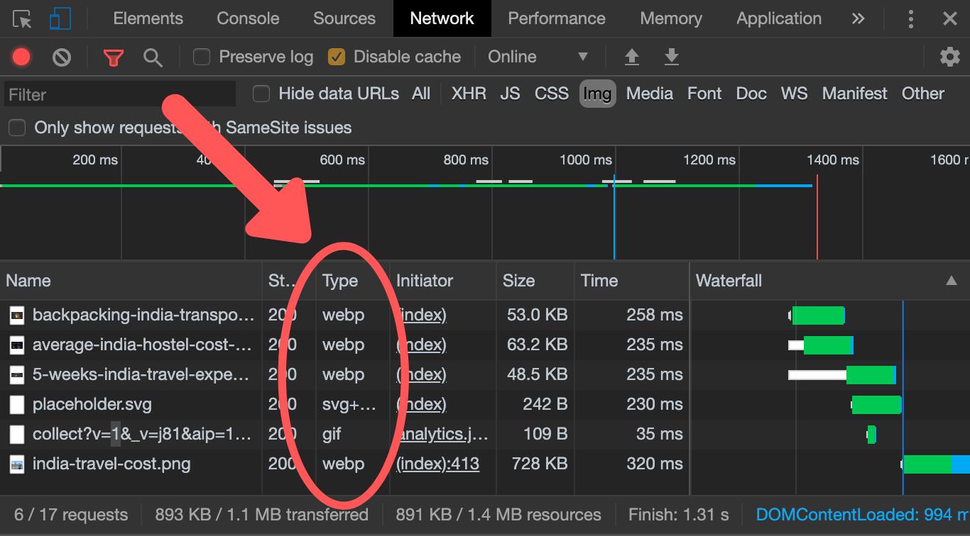 Verification of WebP images in Chrome DevTools