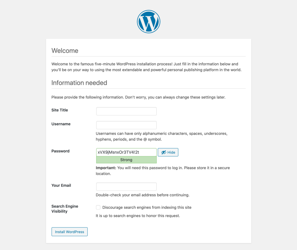 Famous five-minute WordPress installation process