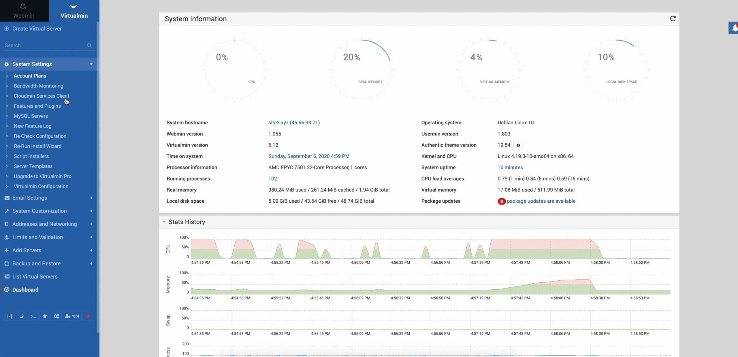 Virtualmin and Webmin dashboard