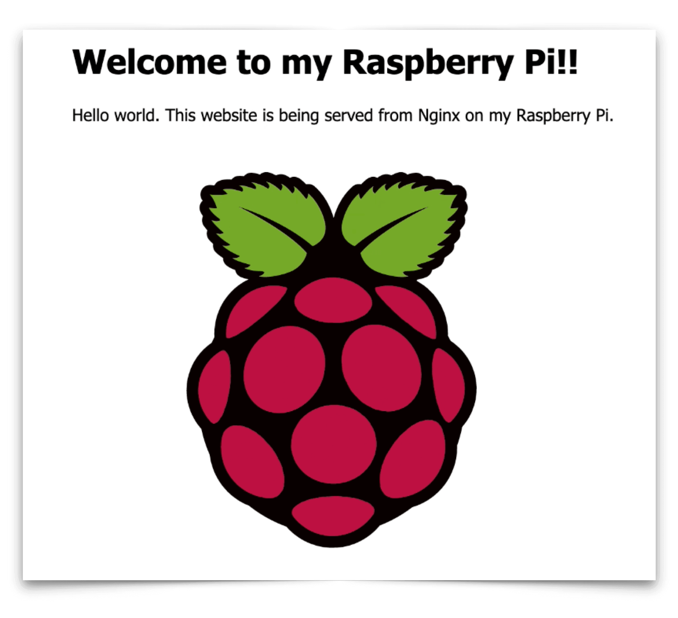 Screenshot of a website hosted on a Raspberry Pi