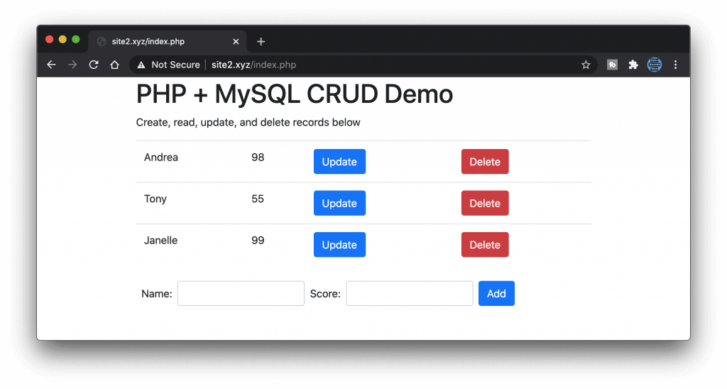 CRUD table with update and delete buttons