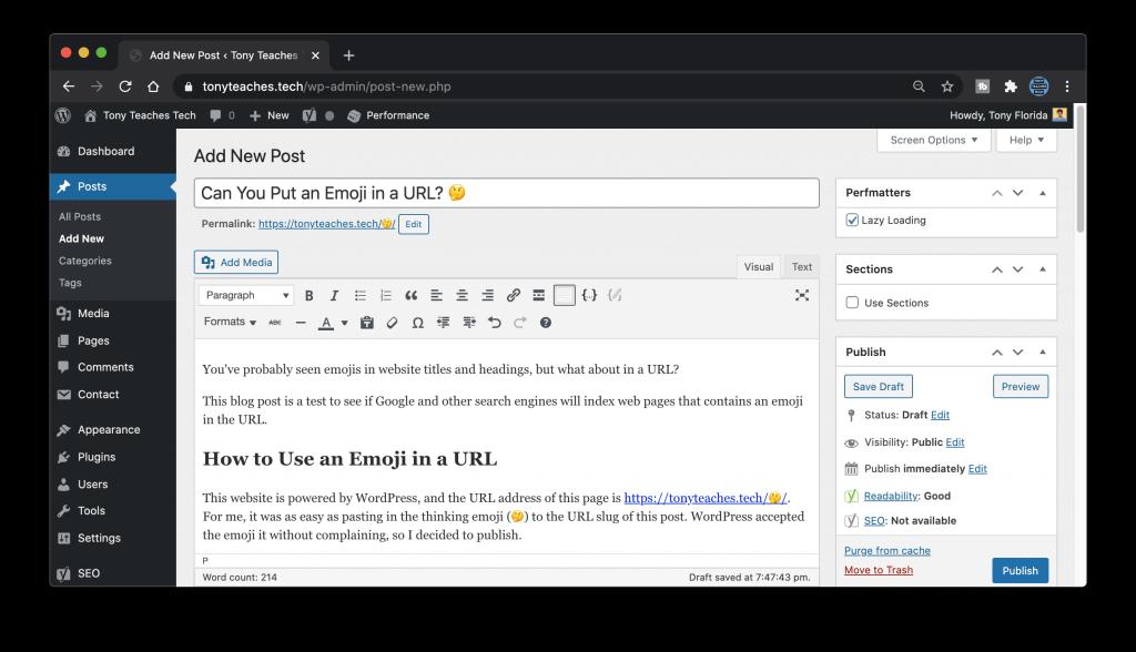 Using an emoji in my URL on WordPress