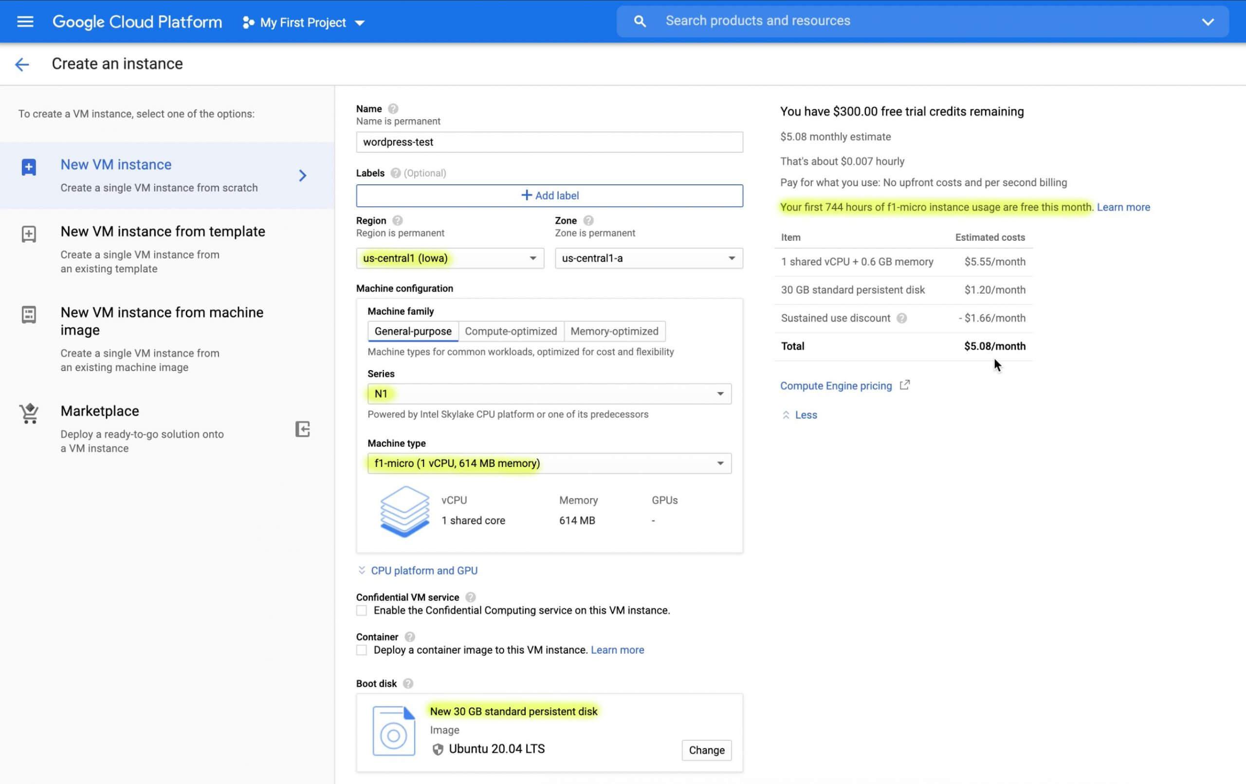 Google Cloud Platform Compute Engine VM free tier