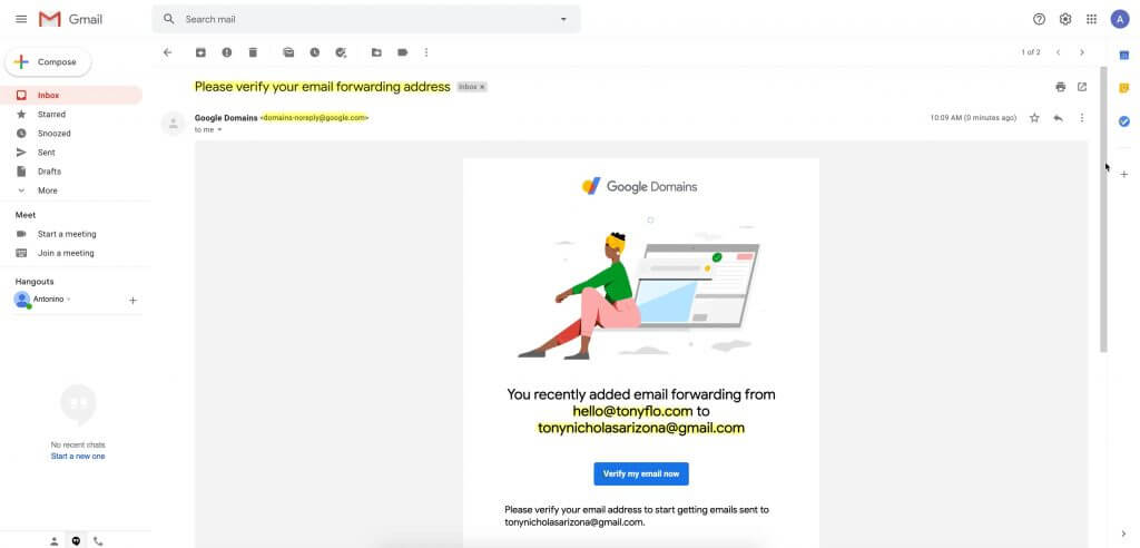 Email forwarding verification with Google Domains