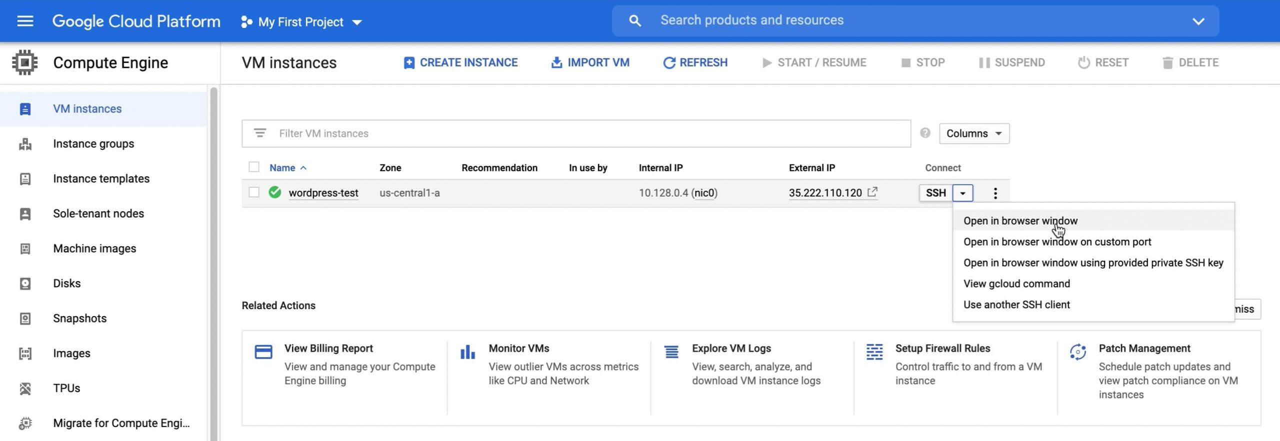 Open in browser window GCP VM instance
