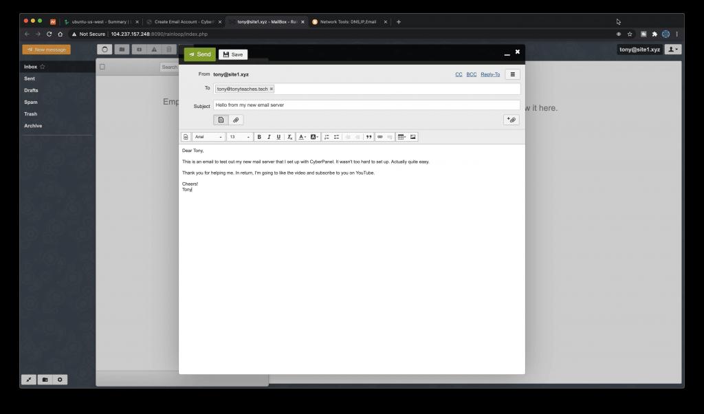 Composing a message in RainLoop