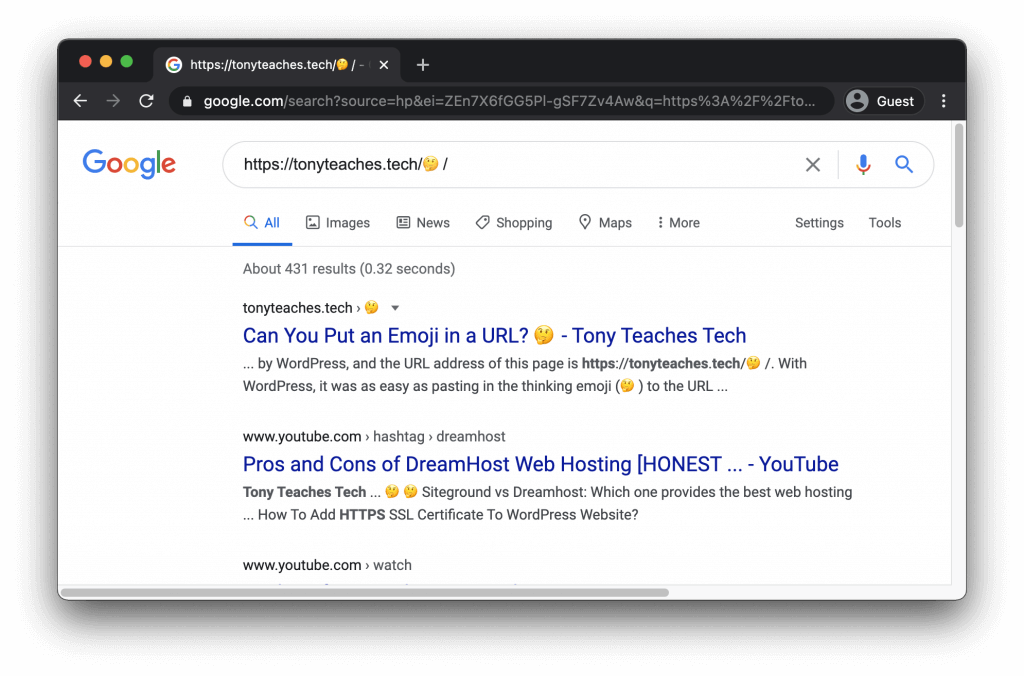 This is how Google displays emojis in search results